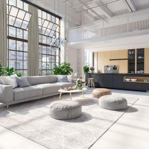 Dziś odchodzi się w architekturze od trwałych podziałów, fizycznych granic zmniejszających wnętrza i ograniczających dopływ światła. Bardzo popularne są natomiast szklane ściany poprzecinane czarnymi szprosami oraz zasłony. Fot. Marcin Dekor