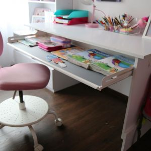 Pod blatem, na całej szerokości biurka zamontowano wysuwaną półkę Extendo. To idealne miejsce na przechowywanie papieru do rysowania czy podręczników. Fot. Peka