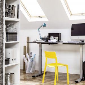 Praktycznym rozwiązaniem w pokoju młodzieżowym będzie biurko z regulowaną wysokością. Możliwość stworzenia takiego rozwiązania daje stelaż elektryczny biurka. Fot. Peka