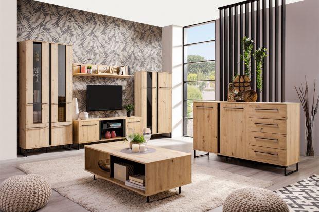 Jakie meble do salonu wybrać? Dziś polecamy piękną kolekcję w kolorze drewna z ciemnymi akcentami. Doskonale sprawdzi się w nowoczesnym salonie.