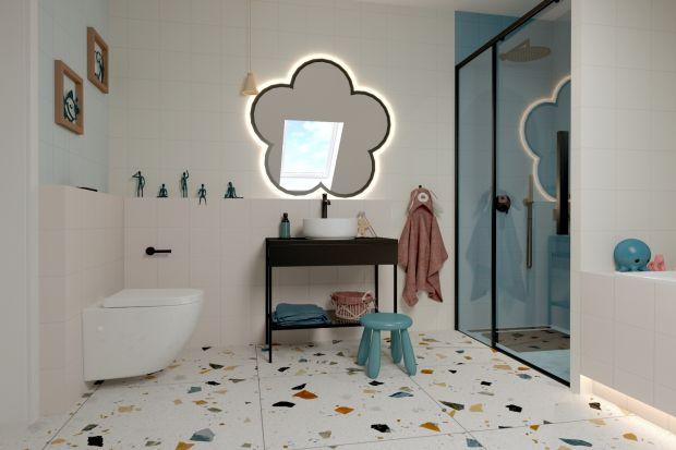 Łazienka w pastelowych kolorach i z ciekawymi dodatkami, została zaprojektowana specjalnie dla córeczki młodych inwestorów. Znajduje się tuż przy pokoju dziecka.<br /><br /><br /><br /><br /><br />