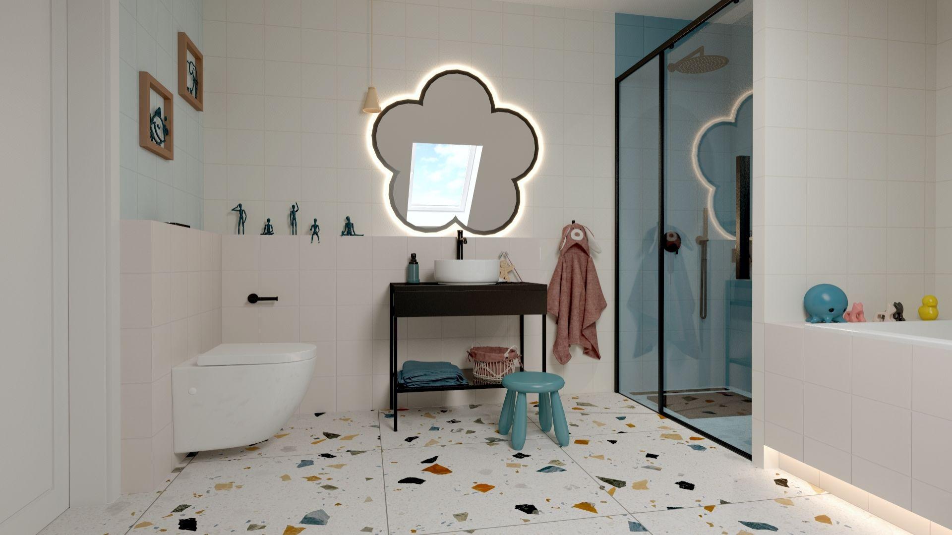 W łazience zastosowano jednobarwne płytki w różnych odcieniach, a jedynym wyrazistym elementem jest tu podłoga. Taki zabieg sprawił, że pomieszczenie nie jest monotonne. Projekt i zdjęcia: ATOM Projekty Wnętrz
