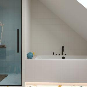 Głównym założeniem projektu było zlokalizowanie w łazience zarówno wanny, jak i kabiny prysznicowej. Projekt i zdjęcia: ATOM Projekty Wnętrz