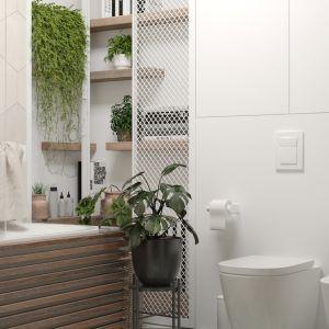 W łazience znalazła się nowoczesna ceramika i funkcjonalnie rozwiązana zabudowa. Projekt i wizualizacje: Agnieszka Rozmysłowicz, Viann Interior Design
