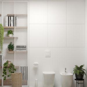 Regał na książki w łazience to pomysł stworzony specjalnie pod potrzeby inwestorki. Projekt i wizualizacje: Agnieszka Rozmysłowicz, Viann Interior Design