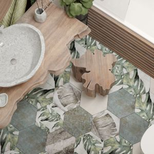 Na podłodze znalazł się miks hensagonalnych płytek. Projekt i wizualizacje: Agnieszka Rozmysłowicz, Viann Interior Design