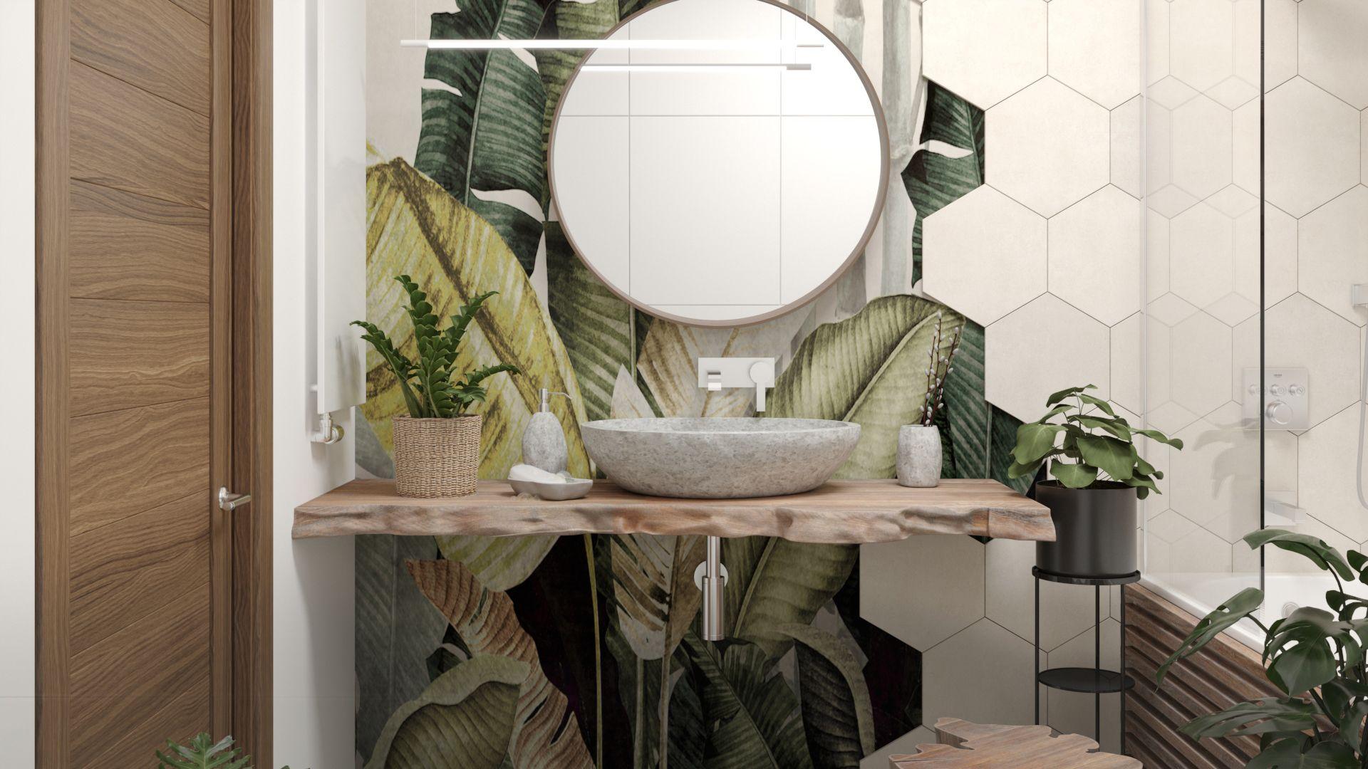 W projekcie łazienki pojawia się drewno -  blat z ociosanego kawałka, pieniek służący jako stoliczek do wanny i obudowa z zaimpregnowanych lameli. Projekt i wizualizacje: Agnieszka Rozmysłowicz, Viann Interior Design