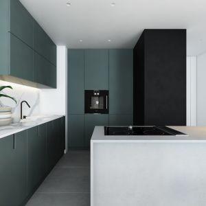 Jako, że kuchnia jest integralną częścią strefy dziennej apartamentu, architektka Agnieszka Prym zaproponowała elegancką zabudowę i wykończenie, które znakomicie wpisze się w designerski charakter wnętrza. Projekt AM.Home