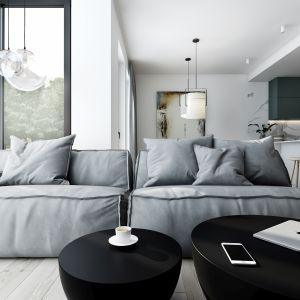 W części wypoczynkowej króluje rozłożysta, miękka sofa Damasco marki Baxter. Widoczne przeszycia tapicerki z naturalnej jasnej skóry zamszowej to znak rozpoznawczy kultowego już projektu Patricii Urquioli z 2010 roku. Projekt AM.Home