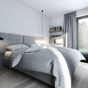 Sypialnia, która sąsiaduje ze ścianą telewizyjną, powiększona została kosztem salonu. Projekt AM.Home