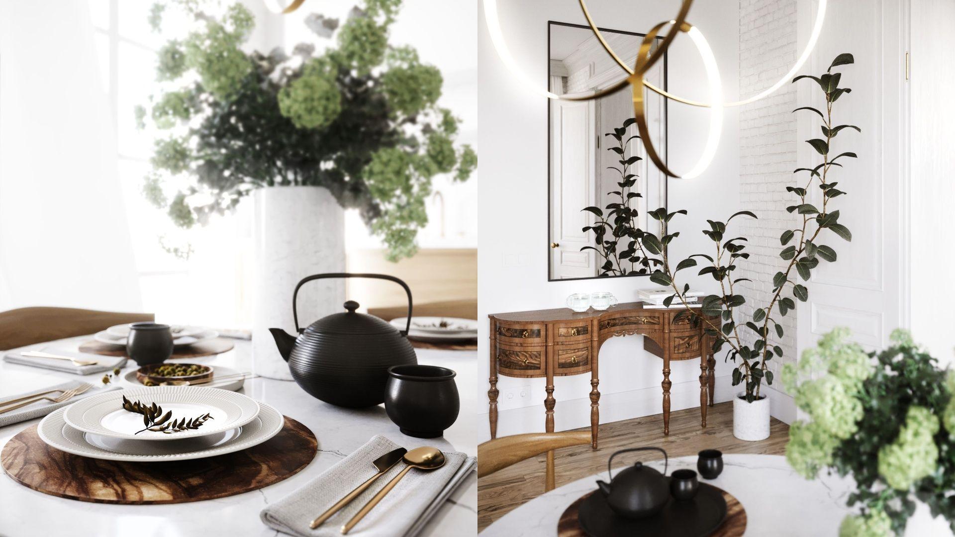 Kwiaty w wazonach to świetny sposób na wprowadzenie natury do salonu. Projekt i wizualizacje Katarzyna Kacik, Aleksandra Poprawa, pracownia projektowa houm