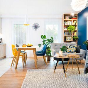 W tym jasnym i kolorowym salonie naturalne rośliny doniczkowe doskonale uzupełniają optymistyczną i pełną pozytywnej energii aranżację. Projekt wnętrza Krystyna Dziewanowska, Red Cube Design. Zdjęcia Mateusz Torbus 7TH Idea