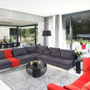 Salon, dzięki dużym przeszkleniom, dosłownie otwiera się na ogród. Projekt: Hanna i Seweryn Nogalscy. Fot. Bartosz Jarosz