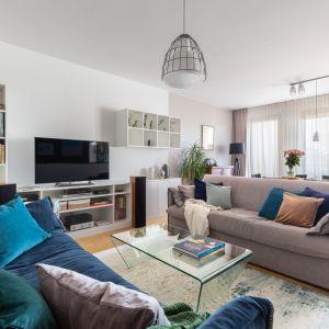 Ten salon jest prosty i funkcjonalny, ale naprawdę może się podobać. To przede wszystkim zasługa kolorystyki, która nie znudzi się po sezonie czy dwóch. Projekt Katarzyna Rohde. Fot. Marta Behling, Pion Poziom