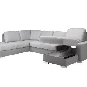 Pod siedziskiem sofy znajduje się pojemnik przeznaczony do przechowywania np. pościeli. Cena: od ok. 3.200 zł. Fot. Stagra Meble