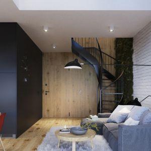 Schody spiralne to oszczędność miejsca i możliwość wykorzystania schodów jako elementu dekoracyjnego salonu. Fot. Apartamenty Sienkiewicza 44 Easy-Resize