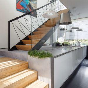 Ciekawe nowoczesne schody z drewnianymi stopniami i balustrada ze szkła i metalu. Projekt arch. Robert Skitek, pracownia RS+. Zdjęcia Tomasz Zakrzewski