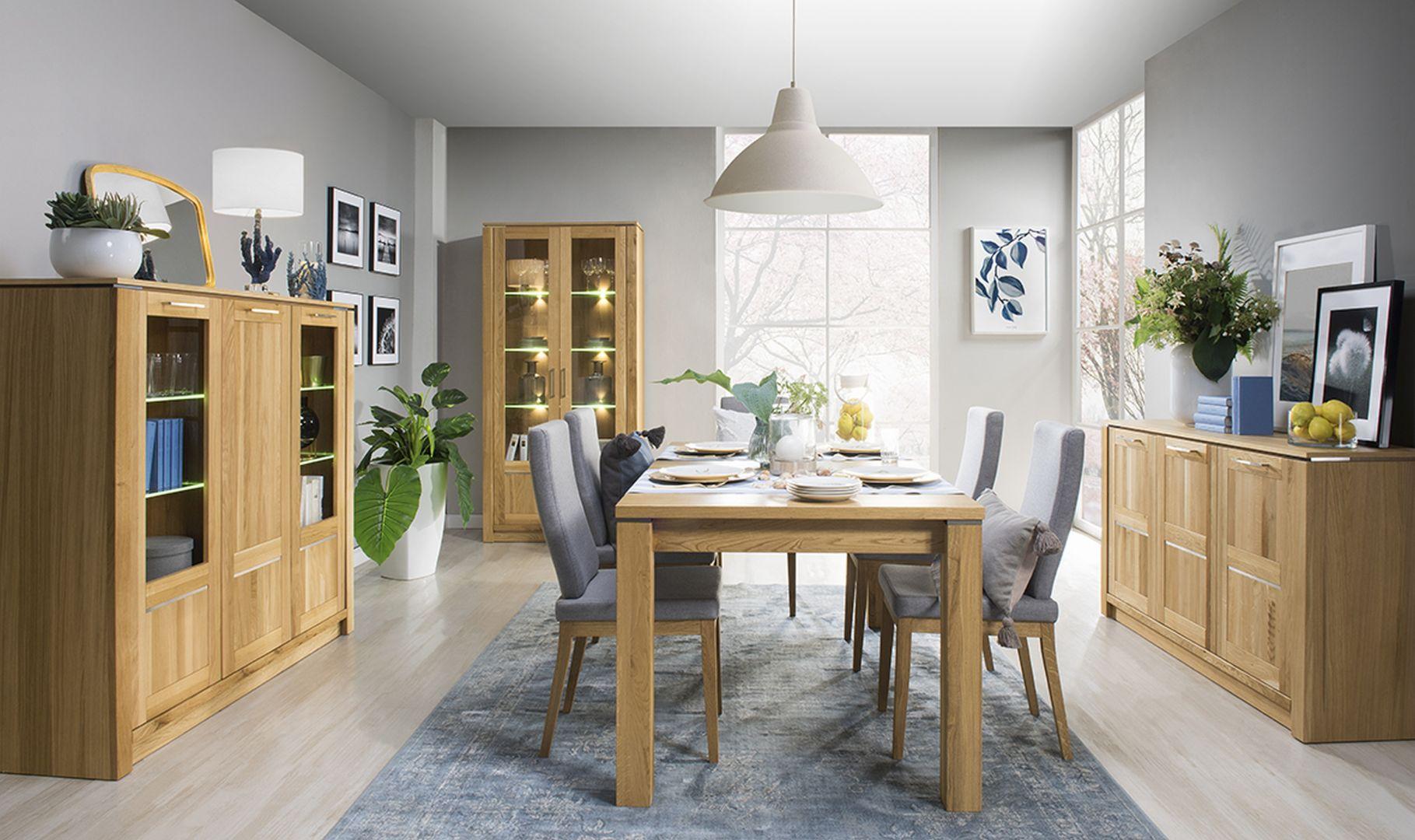 Wysoka jakość wykonania i jasna kolorystyka złotego dębu to czynniki, które idealnie wpisują kolekcję Oslo w wizję nowoczesnego, minimalistycznego salonu i jadalni. Fot. Oslo, Szynaka Meble. Cena 249zł - 2749zł