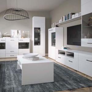 Białe meble do salonu z kolekcji Lisse będą idealnym wyborem do wnętrz w różnych stylach, w szczególności nowoczesnym i skandynawskim. Fot. Salony Agata