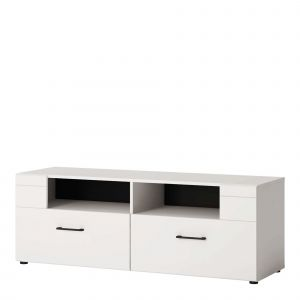 Szafka RTV Lisse 2S. Wnętrze szafki składa się z dwóch praktycznych szuflad. Odkryte wnęki pozwolą na umieszczenie w nich sprzętu RTV. Cena: 439 zł. Fot. Salony Agata