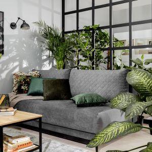 Do szarej kanapy idealnie będą pasować poszewski na poduszki w modnej zieleni - zestawione z żywą roślinnością zrobią efekt wow w salonie. Fot. BRW