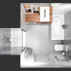 Propozycja aranżacji łazienki o metrażu 5 m2. Fot. Sanplast