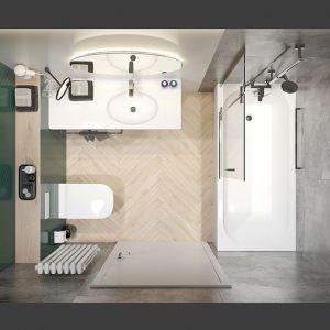 Propozycja aranżacji małej łazienki z płytkim brodzikiem i kabina walk in zamiast klasycznej kabiny. Fot. Sanplast