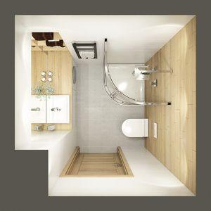 Propozycja aranżacji łazienki o powierzchni 3 m2. Półokrągła kabina pozwala oszczędzić miesce. Fot. sanplast