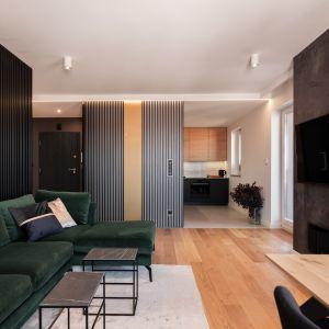 Naprzeciwko sofy projektantki z Kaza Interior Design zaaranżowały ścianę telewizyjną. Projekt Kaza Interior Design. Foto Przemysław Kuciński