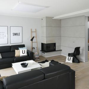 Ściany w salonie wykończono jasną, szarą farbą oraz betonowymi płytami. Projekt: Beata Kruszyńska. Fot. Bartos Jarosz