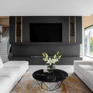 elegancka oprawa ściany z telewizorem wtapia się w wystrój. Projekt Joanna Ochota Archimental Concept JOana. foto Mateusz Kowalik