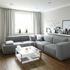 Mały salon urządzono w jasnych szarościach. Jest elegancko i nowocześnie, a do tego komfortowo. Projekt: Karolina Łuczyńska. Fot. Bartosz Jarosz