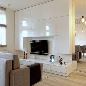 Przestrzeń niedużego salonu wyznacza kanapa oraz minimalistyczna zabudowa ściany za telewizorem. Obok, w lustrze odbija się zabudowa kuchni. Projekt i zdjęcia: ewem Aranżacja wnętrz Edyta Wełnicka