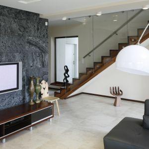 Na ścianie za telewizorem w salonie zastosowano polerowany łupek. Pod kolor kamienia dobrano także niektóre meble między innymi kanapę. Projekt: Piotr Stanisz. Fot. Bartosz Jarosz