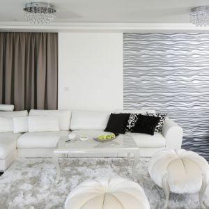 Jasny, puszysty dywan ociepla przestrzeń salonu.Projekt: Katarzyna Uszok. Fot. Bartosz Jarosz