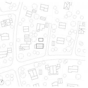 Usytuowanie domu w Sandefjord na działce. Autorzy projektu: Paweł Lipiński, Fryderyk Graniczny, Mateusz Frankowski