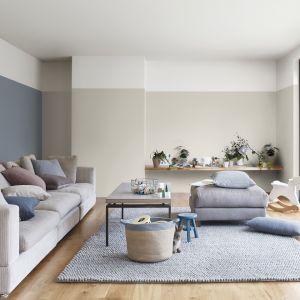 Popielata szarość w towarzystwie beżowego koloru - ściany pomalowane w taki sposób są modne, a jednocześnie niepowtarzalne. Fot. Dulux