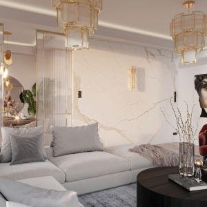 Na ścianie tego salonu znalazła się okładzina z rysunkiem marmuru. To bardzo popularne rozwiązanie, które świetnie się sprawdzi w połączeniu ze złotymi akcentami. Projekt: Aneta Dudek i Martyna Lesniewska, Naboo Studio.jpg