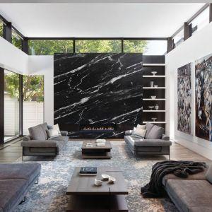 Piękny naturalny czarny kamień zdobi ścianę w tym salonie. Projekt Taylor Smyth Architects, projekt wnętrza Cecconi Simone. Fot. Studio Shai Gil