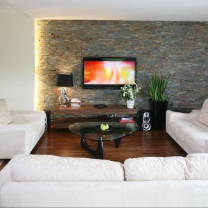 Naturalny szary łupek na ścianie z telewizorem w salonie. Proj. wnętrza arch. Piotr Stanisz. Fot. Bartosz Jarosz