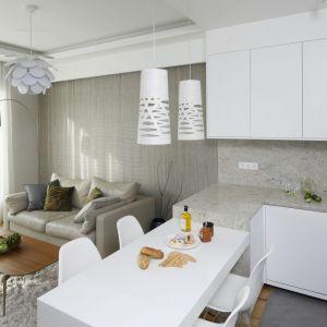 Tuż przy salonie znajduje się kuchnia. Wnętrze jest dość małe, więc stół pełniący rolę jadalni stanowi przedłużenie wygodnego półwyspu. Projekt Agnieszka Hajdas-Obajtek. Fot. Bartosz Jarosz