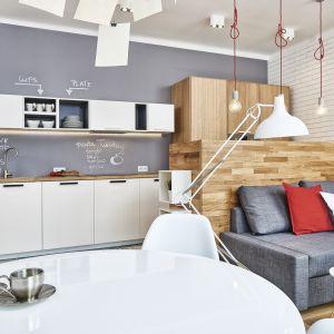 Szara sofa świetnie prezentuje się na tle szarej ściany w części kuchennej. Projekt Katarzyna Kiełek.