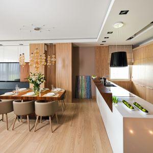 Elegancki salon stanowi spójna część z aneksem kuchennym. Projekt Laura Sulzik