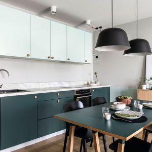 Zielenią w dwóch różnych odcieniach wykończono fronty zabudowy meblowej oraz kuchenny stół. Projekt: Raca Architekci. Fot. Fotomohito