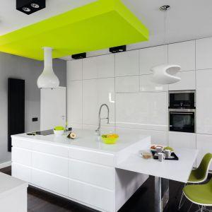 Białą kuchnią ożywiają dodatki w zielonym kolorze. Projekt: Justyna Smolec. Fot. Bartosz Jarosz.