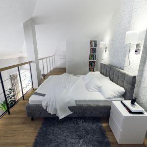Na antresoli znajduje się sypialnia i garderoba. Projekt i wizualizacje: Monika Staniec, Interior Design
