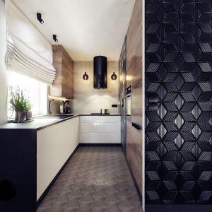 Bardzo mocnym akcentem w kuchni są czarne kafle heksagonalne. Projekt i wizualizacje: Monika Staniec, Interior Design