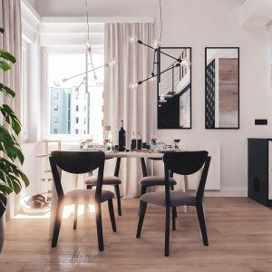 Jadalnia znajduje się pomiędzy kuchnią a salonem. Projekt i wizualizacje: Monika Staniec, Interior Design
