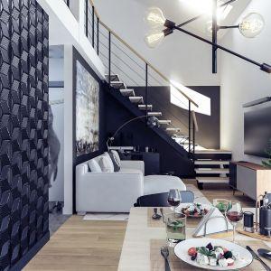 W najniższym punkcie wysokość wnętrze ma około 350 cm, a w najwyższym aż 570 cm. Projekt i wizualizacje: Monika Staniec, Interior Design