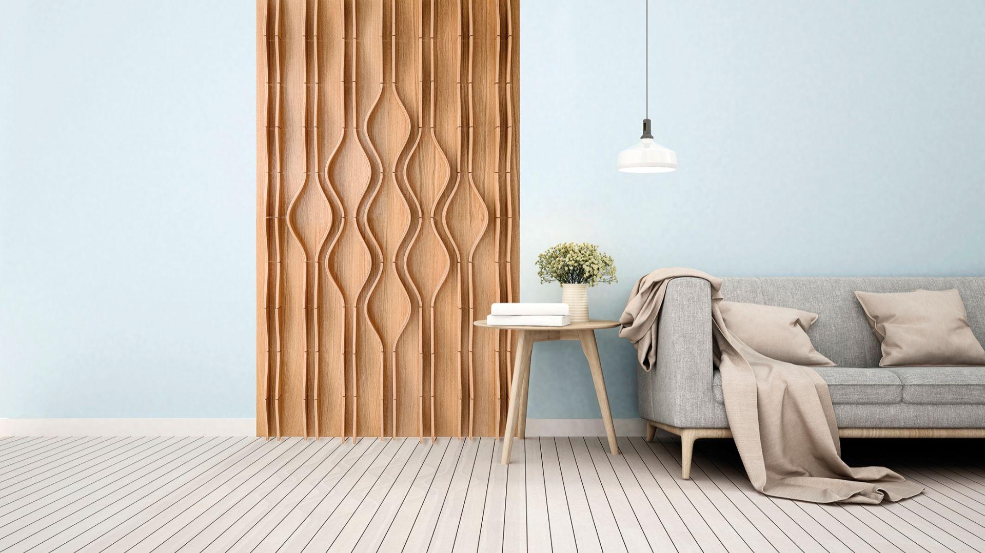 Falująca dekoracja ścienna ze sklejki drewnianej. Cena: 1 230-1 968 zł/m2, Bester Studio. Fot. Bester Studio